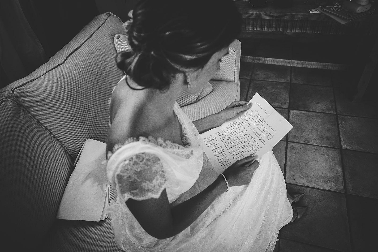 Mariage au Comptoir Saint Hilaire. La lettre du marié pour sa femme