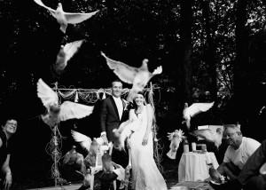 Mariage au château de Bisseret depuis saint Barthélémy lacher de pigeon