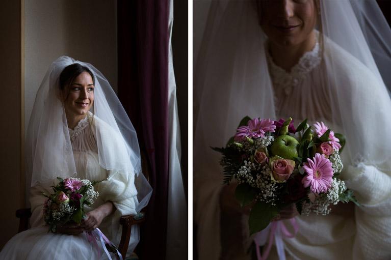 Hotel Royal Saint Mart Royat Clermont Ferrand Portrait de la mariée avec son bouquet