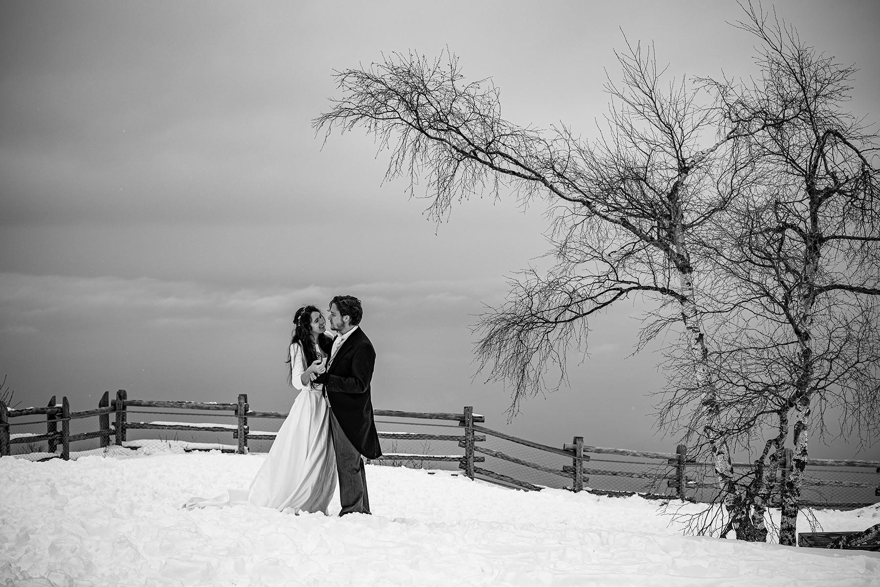 Mariage à la neige et à la montagne, photographe